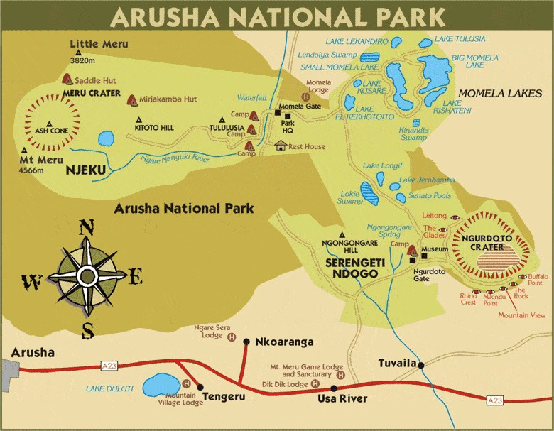 Map Arusha National Park